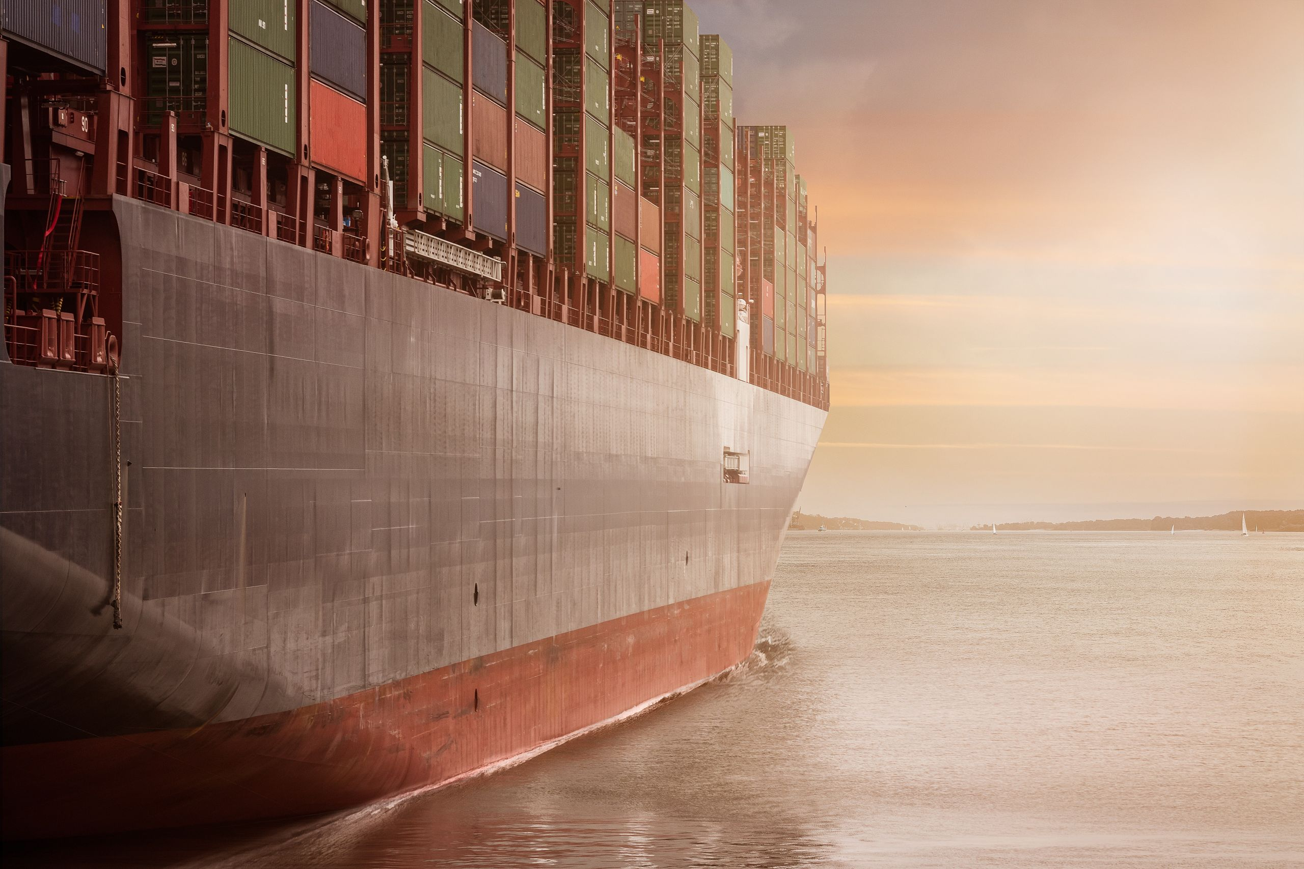 Ship filled with cargo containers