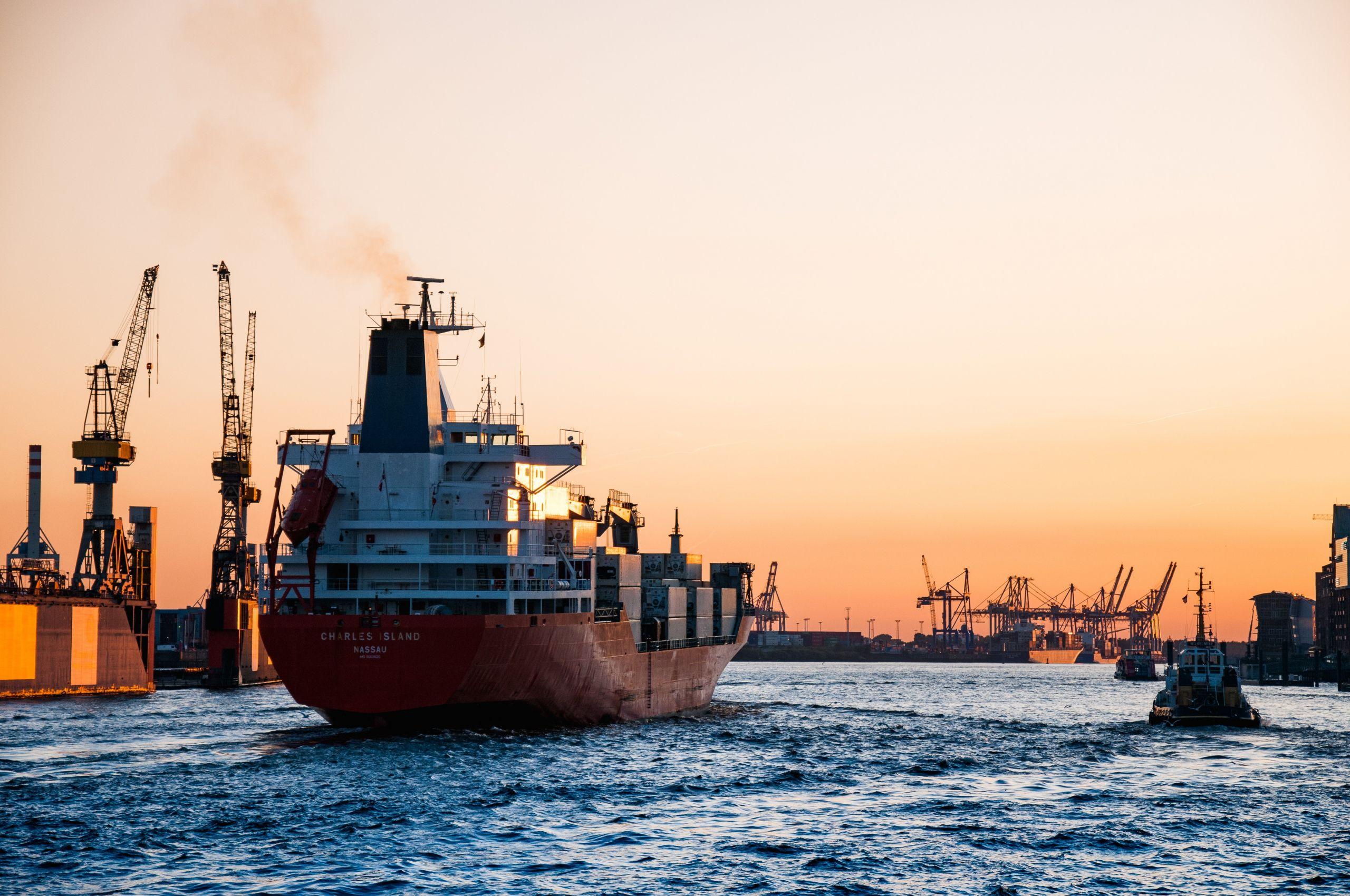 Ship in the open sea